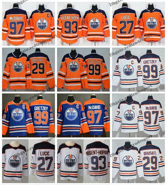 2019 Edmonton Oilers 97 Connor McDavid 99 Wayne Gretzky 29 Leon Draisaitl 27 Milão Lucic 93 Nugent-Hopkins Casa Laranja Azul Camisolas De Hóquei