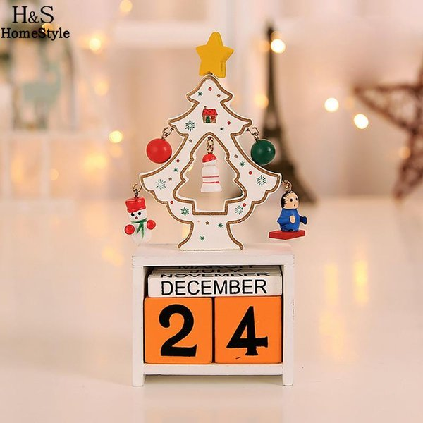 Table Christmas Christmas Party White Calendar Wooden Calendar Home Green Red Decorations for Ornaments