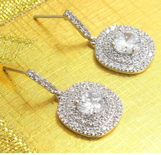 women Restoring ancient ways of fashion white gold filled 5 kinds of color CZ Dangle & Chandelier Earrings