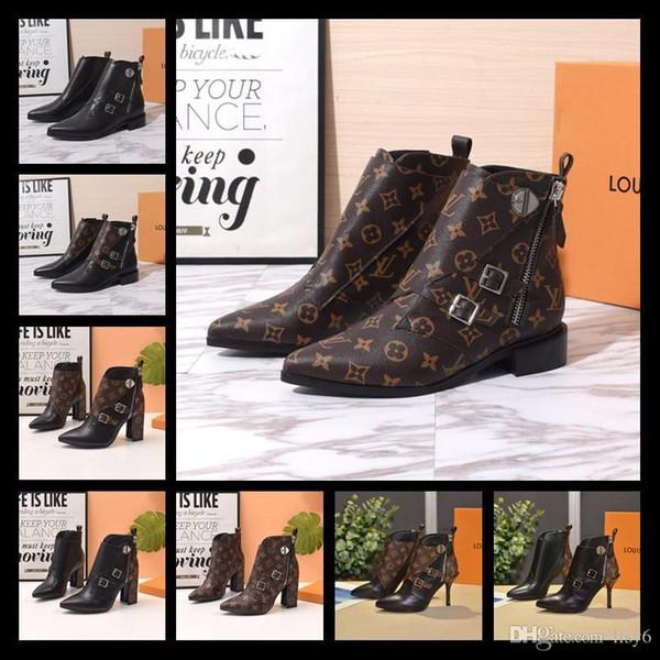 19SS Star Trail Tornozelo Bota Das Mulheres Clássico Monograma Botas de Saltos Áspero Designer de Moda Botas Botas De Couro Do Dedo Do Pé Redondo Famoso Sapatos de Marca de Salto