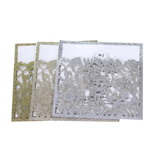 Glitter Pocket Design Invitation Card Laser Cut Out Business Wedding Party Universal Invitation Cards Birthday Cards Online Birthday Cards Online Free