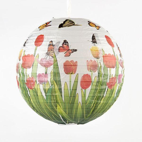 16 pulgadas (40 cm) Flores de Mariposa de Bambú Chino Lámparas Linternas de Papel Redondas para el Banquete de Boda Decoración de la Fiesta de Vacaciones Accesorios
