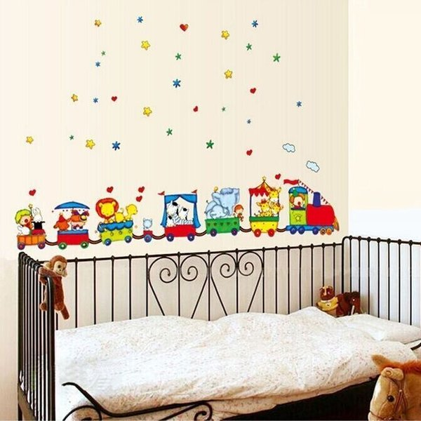 Art Vinyl Animal Circus Train Removable Wall Stickers Parlor Kids Bedroom Home Decor Mural Decal