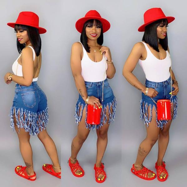 Mujeres del verano pantalones cortos de la borla de los pantalones vaqueros de cintura alta Diseñador de moda Pantalones cortos de la vendimia Pantalones vaqueros pantalones de mujer