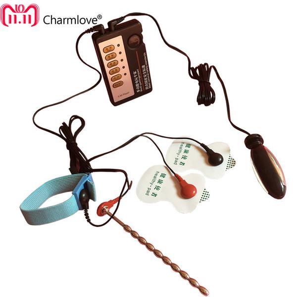 2018 DIY Macho Choque Eletro Penis Anéis Penianos Choques Elétricos Conjuntos Massageadores, 3 Tipos de Jogos de Sexo Uretral Elétrica Estimular Y18110801