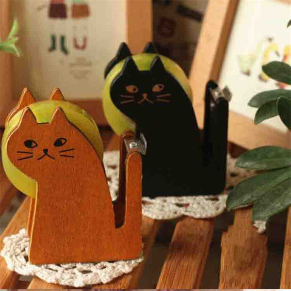 Coloffice Creative Cartoon Cat Shape 2018 New Tape Holder Vintage Wood Tape Cutter Korean Stationery Office School Supplies 1PC