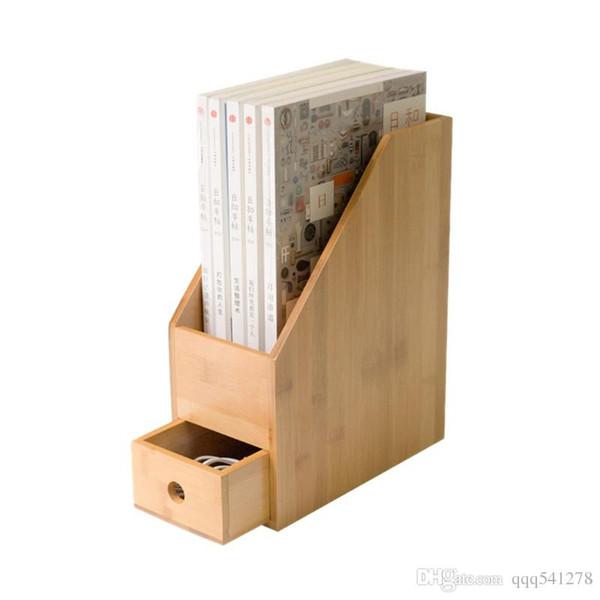 Bambus Büro Aktenregal Schreibtisch Organizer mit Schublade Arbeitszimmer Bücherregal A4 Papier Lagerung Inhaber Eco Natürliche Aufbewahrungsbox