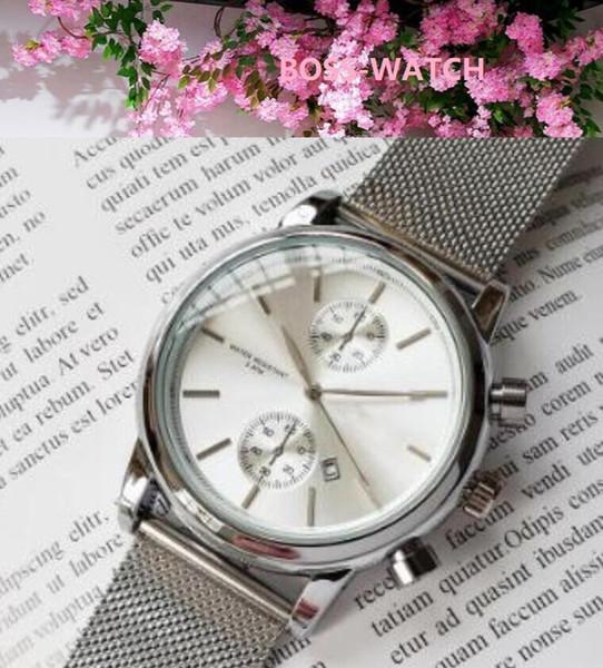 gli uomini di alta qualità vigilanza dell'orologio impermeabile al quarzo orologi mens design in acciaio 43 millimetri mesh orologi da uomo