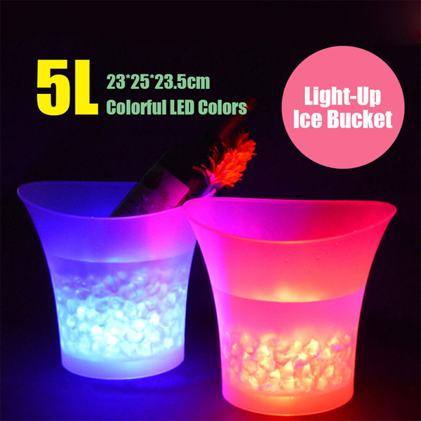 top popular 7 Color LED New 5L Waterproof Plastic LED Ice Bucket Color Bars Nightclubs LED Light Up Champagne Beer Bucket Bars Night Party 2021