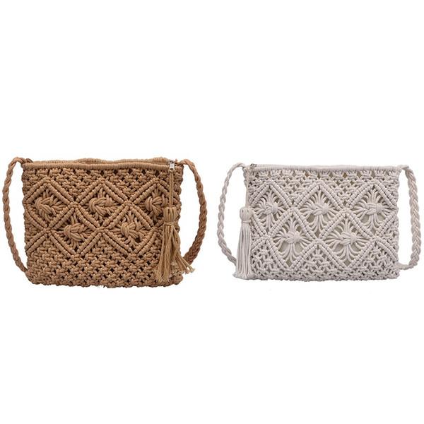 2 PC DONNA singolo Shoulder Bag Tutto-Fiammifero Paper Bag estate corda gancio sacchetti di bambù nappa Beach borsa, cachi Bianco