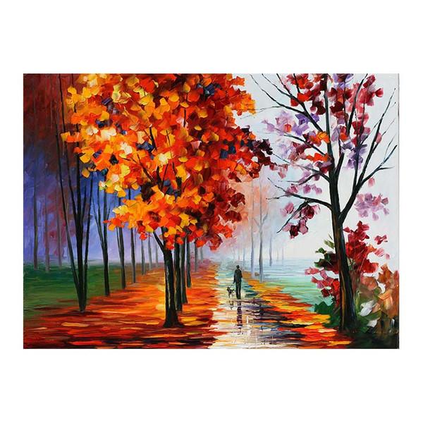 72x48 Abedules Camino forestal Salón sofá fondo decoración de la pared pintura lienzo pintado a mano pintura al óleo Afremov