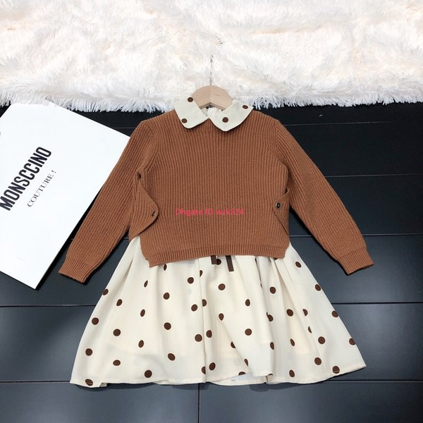 Girls dresses set autumn kids designer clothing knit sweater + sleeveless dress 2pcs cashmere-blend top chiffon skirt