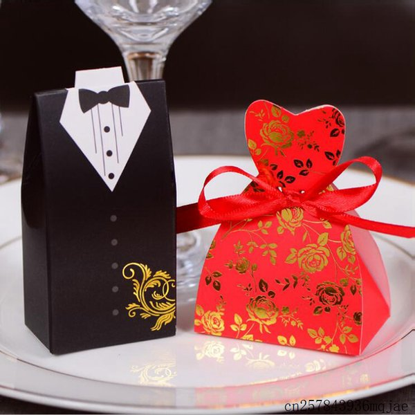 500Sets Bride and Groom Candy Boxes Gift Bags with Ribbons Wedding Favor and Wedding Decoration Souvenirs