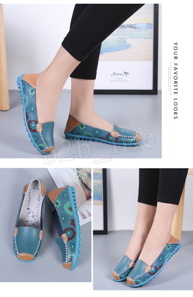 Doug Shoes Flat Loafers Nurses Mother Shoes Printed Plus Size Shoes Soft Flats Summer Casual Chaussures Leather Shoe Sandals MMA1819 6sdf