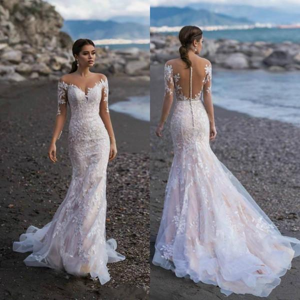 2020 Naviblue Wedding Dresses Long Sleeves Mermaid Bridal Gowns Lace Appliqued Custom Sweep Train Beach Wedding Dress vestido de novia