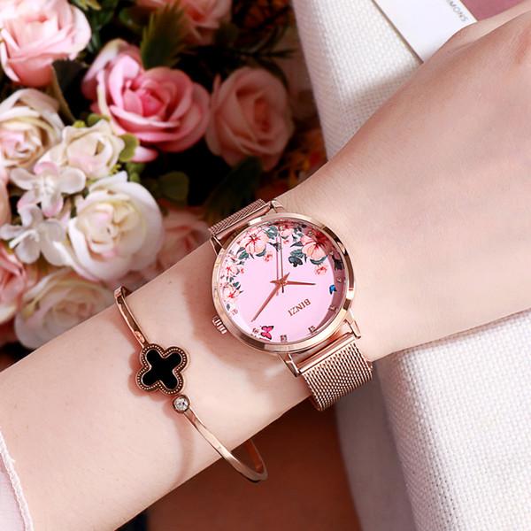 Женские часы из розового золота с цветочным циферблатом Женские наручные часы Reloj Montre Модные часы-браслет для женских часов
