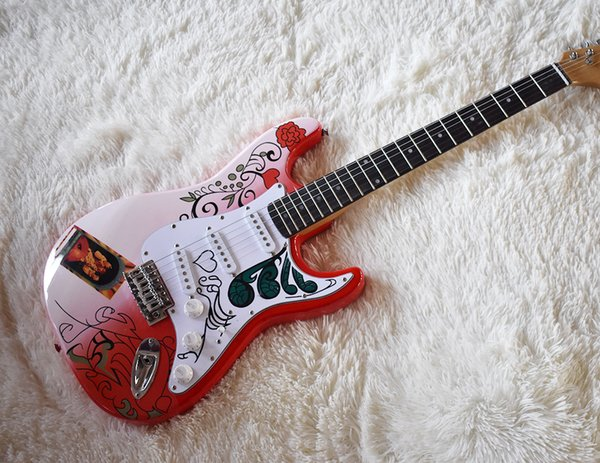 Free Shipping Factory Custom Red and Pink Electric Guitar with Flower Pattern,Chrome Hardware,White Pickguard,High Quality,Can be Customized