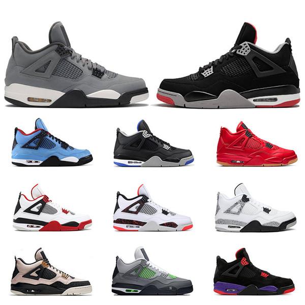 Воздух 2019ретроjordan 4s мужские баскетбольные кроссовки 4 Cool Серый Bred PURE MONEY WINGS PALE CITRON мужские спортивные спортивные кроссовки размер 7-13