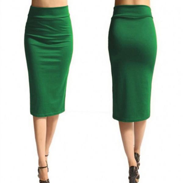 Señoras Nueva Oficina Estiramiento Bodycon Midi Falda Mujer Falda Lápiz Mujer Cintura Alta Mid-calf Jersey Jersey Falda Puls talla Xl