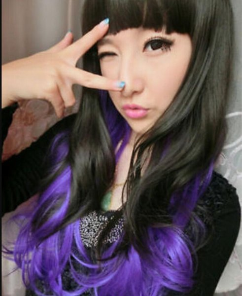 WIG free shipping >>>Harajuku Women's Curly Wavy Long Hair Full Wigs Lolita Cosplay Black+Purple