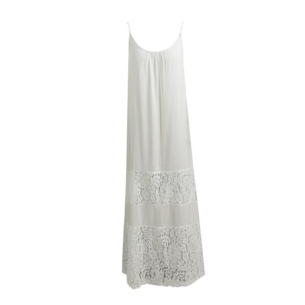 Summer Women Dress 2019 New Solid Lace Splice Spaghetti Strap 4xl 5xl Plus Size Dress Loose Boho Beach Floor-length Dress designer clothes