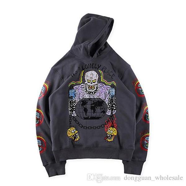 19SS Kanye West XXXTentacion temporada 6 capucha de Hip Hop de Calle Santo Esqueleto Graffiti XXXTentacion la estación 6 de Brown con capucha