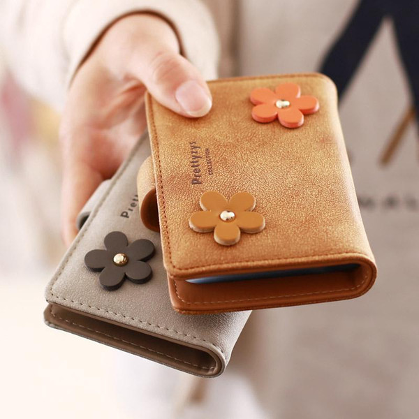 2016 New Female Mini Small Card & ID Holders Ladies Edition South Korea Flower 20 Cards Multi Matte Cute Korean Slim Wallet