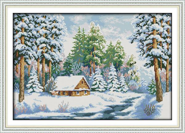 Snow World bosque paisaje decoración casera pintura, bordados a mano punto de cruz bordado conjuntos impresión impresa sobre lienzo DMC 14CT / 11CT