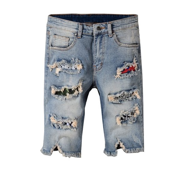 New Italy Style #548# Men's Distressed Destroyed Pants Art Patches Skinny Washed Blue Shorts Jeans Trousers Size 28-40