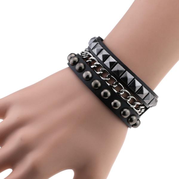 Roche Rivet Spikes Multicouches Chaînes Gothique Punk large manchette en cuir Bracelets Bangles femmes Charm Bracelet Wrap Bracelet Pulseiras