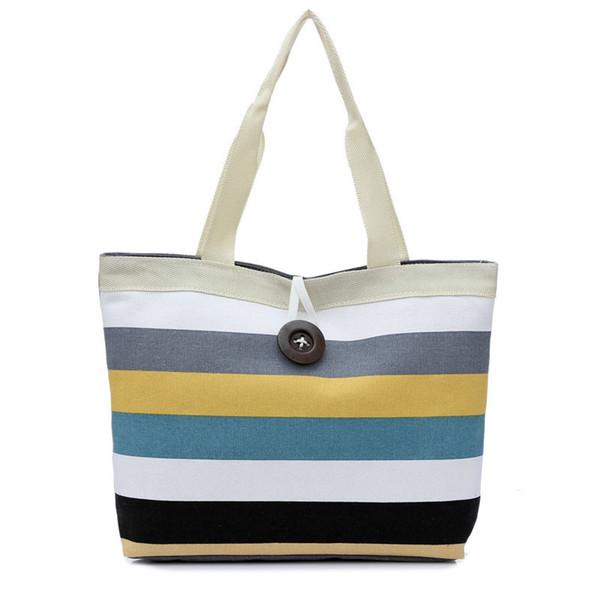Cheap Fashion2019 Fashion Canvas Unisex Stripe Women Zipper Handbag Strap Coffee Shopping Bag Shoulder Bag Lady Bags Tote Handbag