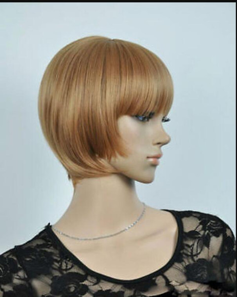 WIG HOT sell Free Shipping >> Hot Sell New Fashion Blonde Short Straight Bob Women's Lady's Hair Wig