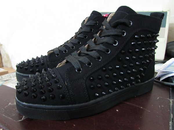 cheap for discount 20d9a e85a8 Fashion Black Suede High Top Studded Spikes Casual Flats Luxury Red Bottom  Shoes Brand New Men Louboutin Women Party Designer Sneakers Navy Shoes Blue  ...