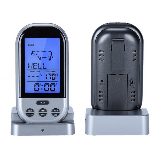 Vendita calda LCD Termometro da cucina senza fili Manzo Barbecue BBQ Cottura cibo Calibro di temperatura Sonda digitale Termometro per carne Timer Strumenti gratuiti s