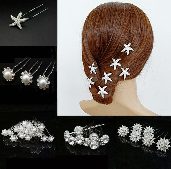 60PCS Rhinestones Pearl Hair Forks Pins Fascinators for Women, Decorative Headpiece Hair Clips Wedding Party Daily Hair Accessories