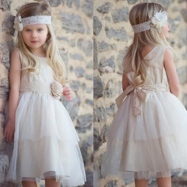 Compre Vestidos Sencillos Para Niña De Flores De Tul Hasta La Rodilla Escote Redondo Una Línea Sin Mangas Niños Primera Comunión Vestidos Con Flores
