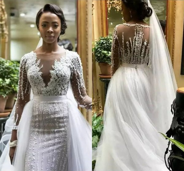 New African Saudi Arabic Vintage Long Sleeve Wedding Dresses Beadings Appliques Sheer Neck Bride Wedding Gown With Removable Tulle Skirt