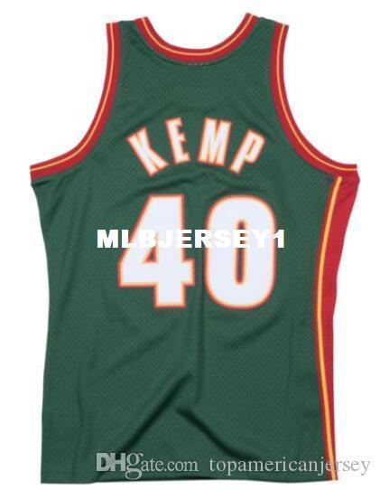 Shawn Kemp # 40 Grün genähte hochwertige Retro Vintage Top JERSEY Herren Weste Größe XS-6XL genähtes Basketball Trikots Ncaa