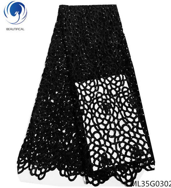 top popular BEAUTIFICAL african guipure laces fabrics black cord lace fabrics 2019 water soluble laces dress for women 5yards lot ML25G14 2021