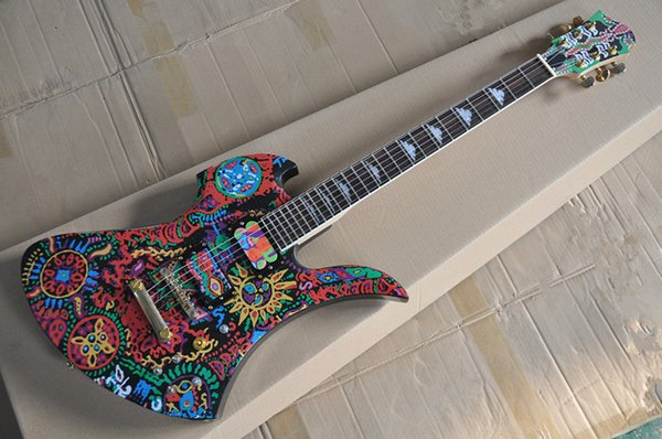 New Arrival! Painted pattern Unusual Shape Electric Guitar with Golden Hardwares,Rosewood Fretboard, offer customized
