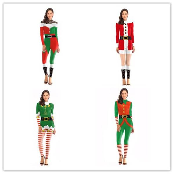 Kadın Noel Noel Baba Cosplay Kostüm Tulum Tulumlar Parti Noel Giysileri