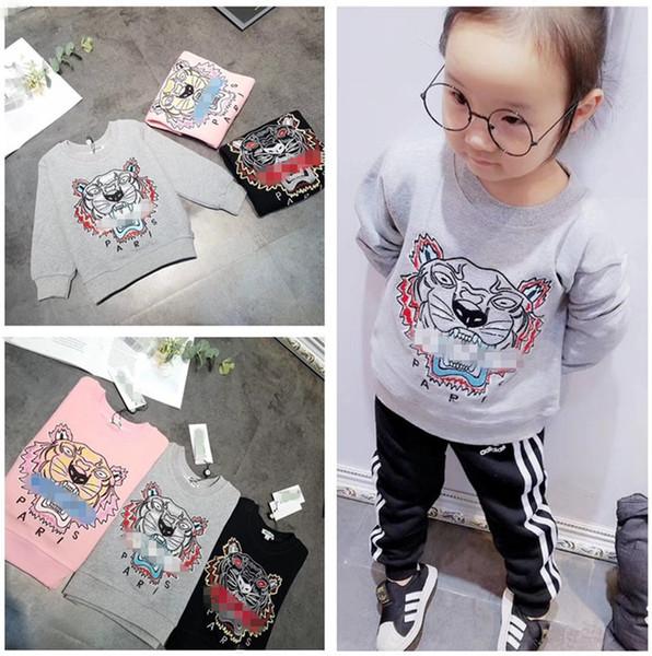 Abbigliamento per bambini Maglioni per bambini Autunno Novità per bambini Maglioni di lana di cotone Ricamo squisito della testa della tigre per i bambini Sweatershirt B11