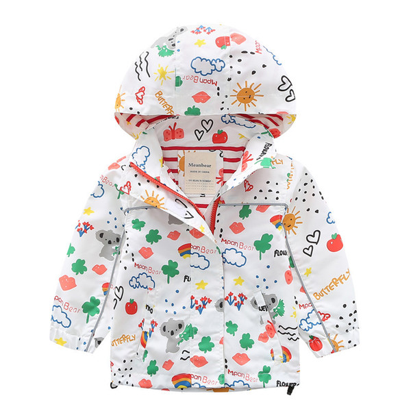 Baby Girl Spring Jackets Windbreaker 2019 Fashion Cartoon Clothes Children Girls Hooded Coat Kids Zipper Outerwear 2-10 Years