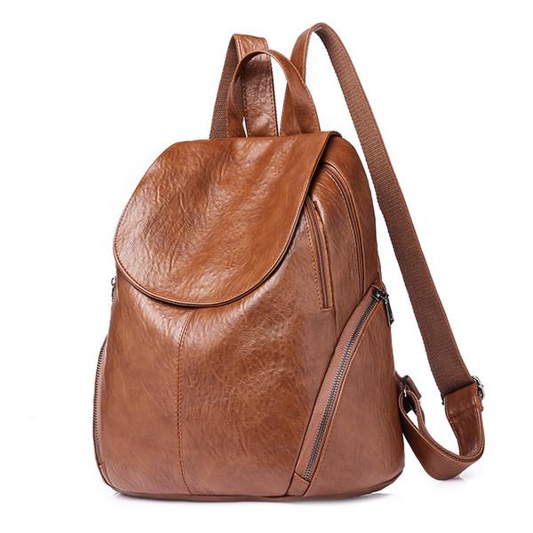 Travel Backpack Korean Women Female Rucksack Leisure School Bag Soft Leather //