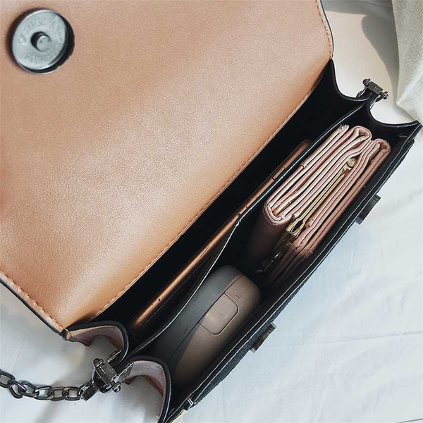 Hit Color Patchwork Crossbody Bags For Women Scrub Pu Leather Woman Messenger Bag Chains Luxury Handbags Women Bags Designer New