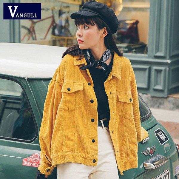 Vangull Nuevo 2019 Chaqueta de bombardero de mujer con bolsillos Chaqueta de pana de algodón Mujeres Abrigos básicos Elegante Slim Fit Ropa de abrigo de moda Y190826