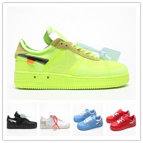 top popular With Box And Stock X Forces 1 Off MCA Blue White Red Metallic Silver Men Casual Shoes Volt 2.0 Low Black And Green Luxury Designer Shoes 2020