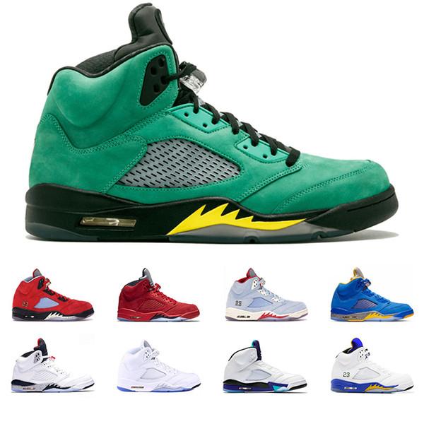 5 hommes Chaussures de basket-5s Bred Feu rouge Glace Bleu Laney Trophée Bleu Jaune Mens Room Soigneur Sport Sneaker Vente à bas prix