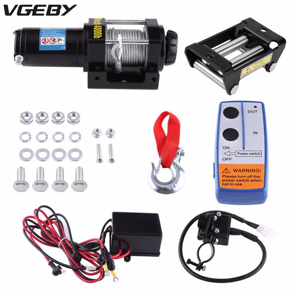 oversea de es 4000lbs electric recovery winch kit atv trailer truck 15m high tensile steel cable auto dc 12v remote control