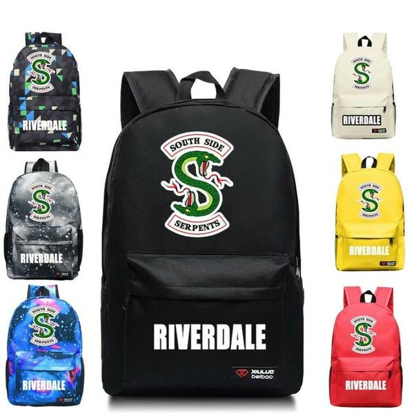 Riverdale South Side Serpents Canvas School Bag Backpack Student Bookbag Casual Travel Laptop Shoulder Bags Galaxy Rucksack for Girl Boys